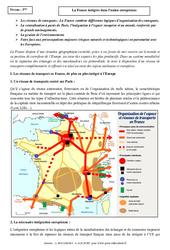 La France intégrée dans l'union européenne - Cours - Géographie : 3eme Secondaire