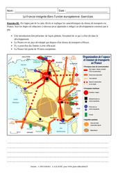 La France intégrée dans l'union européenne - Exercices corrigés - Géographie : 3eme Secondaire