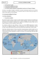 La France, une influence mondiale - Cours - Géographie : 3eme Secondaire