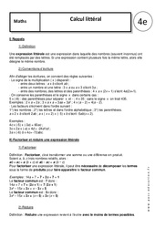 Calcul littéral - Cours : 2eme Secondaire