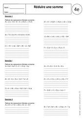 Réduire une somme - Exercices corrigés - Calcul littéral : 2eme Secondaire